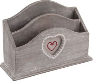 French grey wooden desk tidy from Dibor