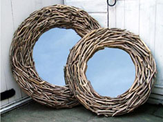 Large round driftwood mirror from Coastal Home