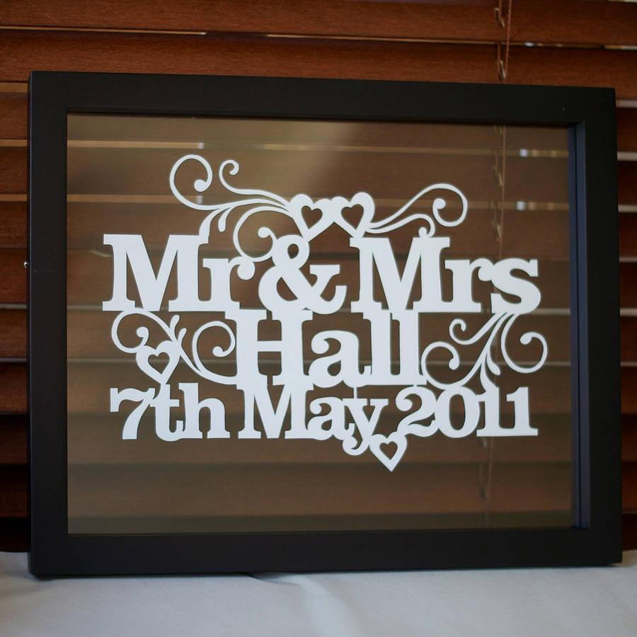Paper Art Wedding Gift : Personalised papercut art