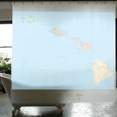 Hawaii map shower curtain