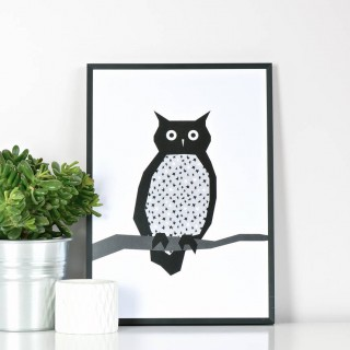 Contemporary owl print by Ingrid Petrie design