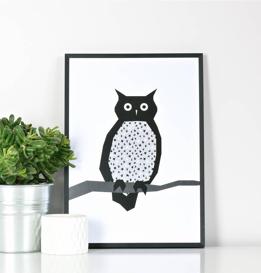 Contemporary owl print by Ingrid Petrie design