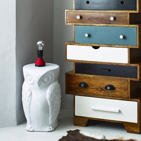 Really quirky white owl design stool or side table