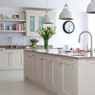 Pebble grey kitchen with island cabinet