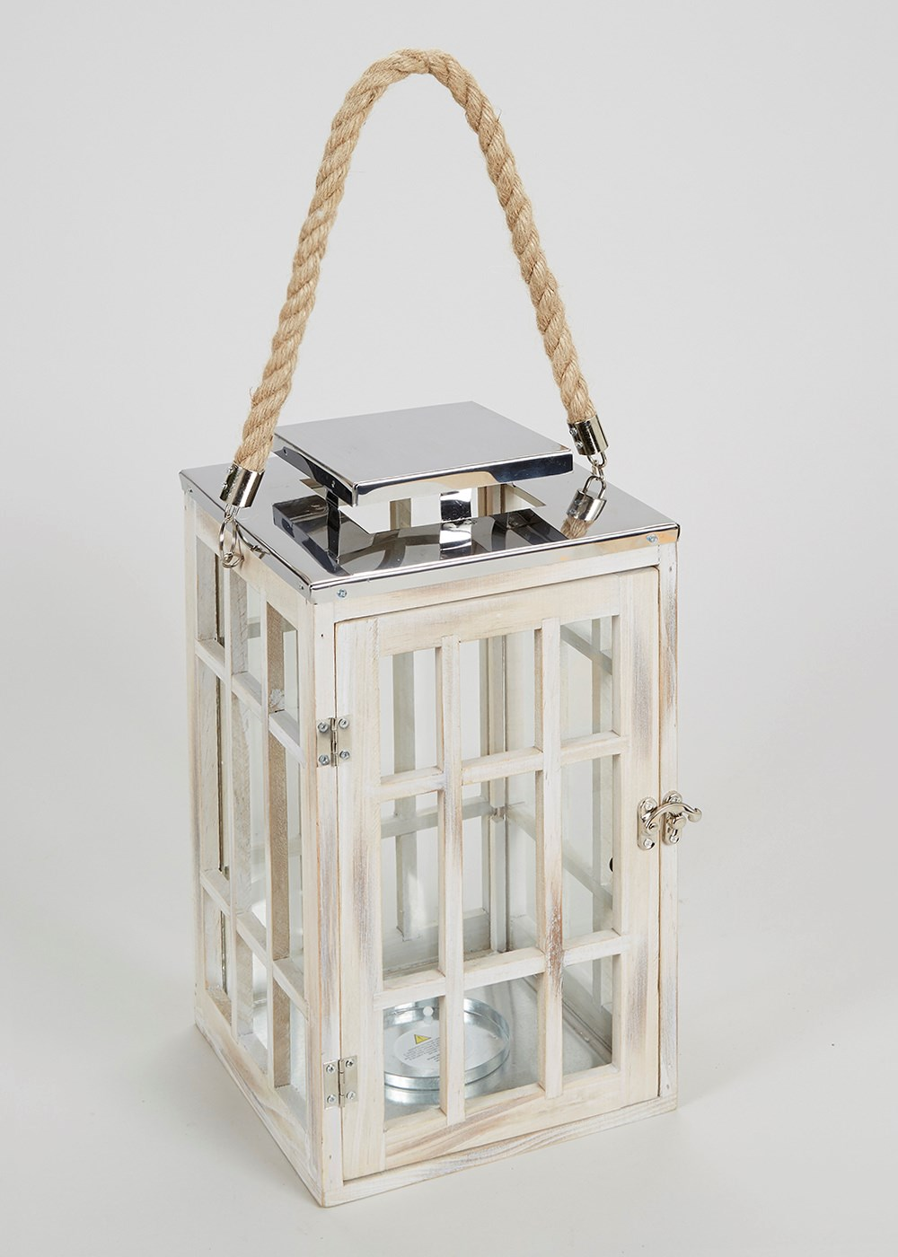 Wooden nautical style hurricane lantern