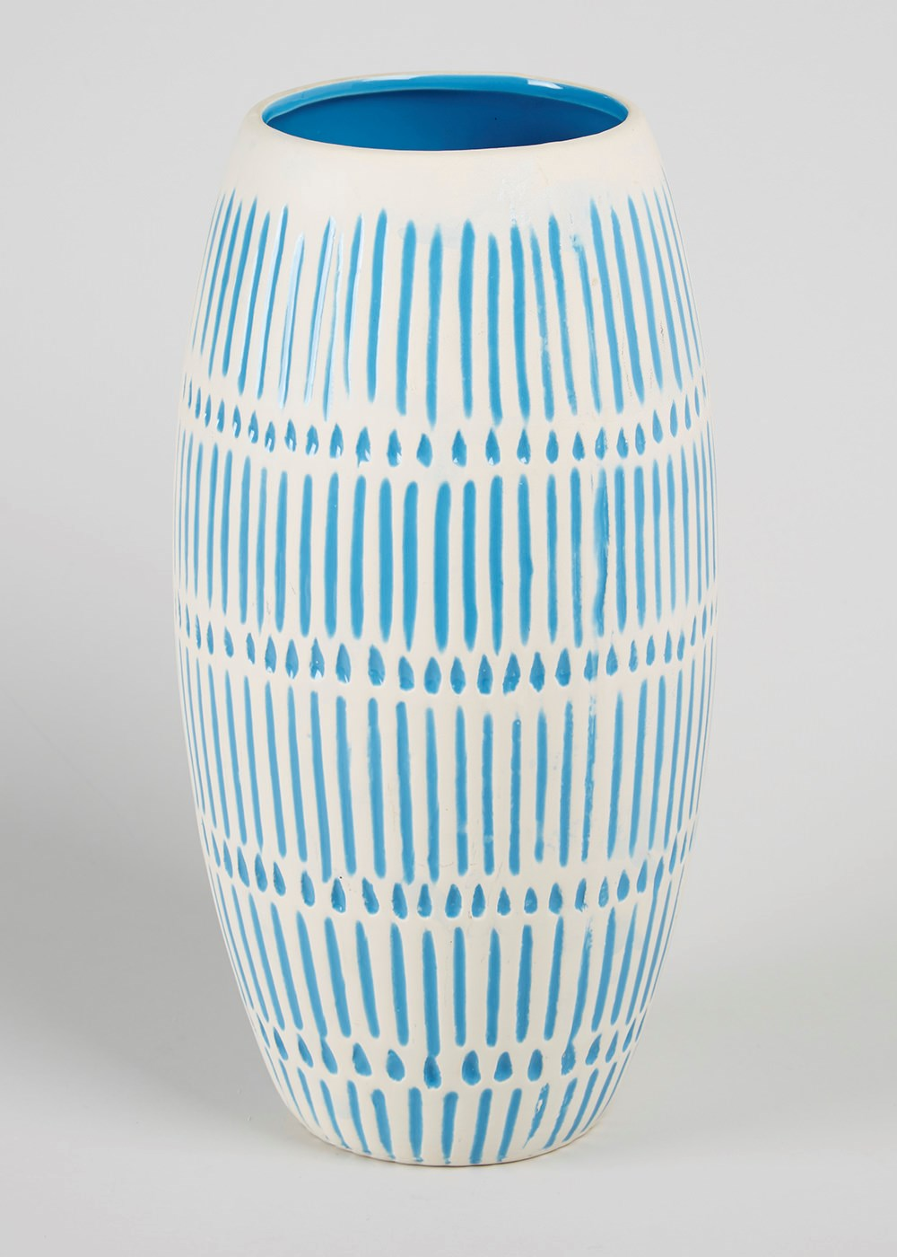 Aqua and white painted ceramic vase, perfect for an ocean inspired room scheme